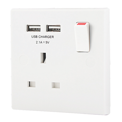 BG 13a sp Switched Socket + 2.1A USB Charger